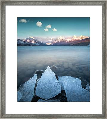 Framed Print featuring the photograph Winter Formations / Lake Mcdonald, Glacier National Park  by Nicholas Parker