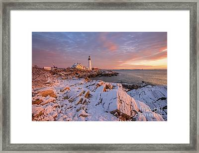 Winter Sunrise At Portland Head Light Framed Print