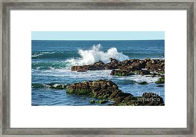 Winter Waves Hit Ancient Rocks No. 2 Framed Print