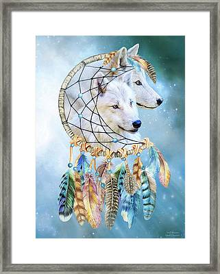 Framed Print featuring the mixed media Wolf Dreams by Carol Cavalaris