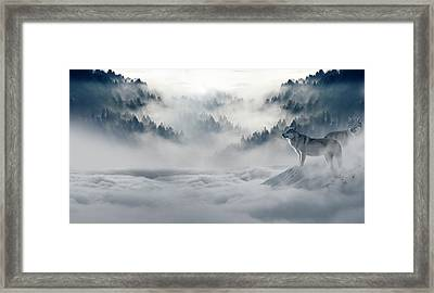 Wolfs In The Snow Framed Print