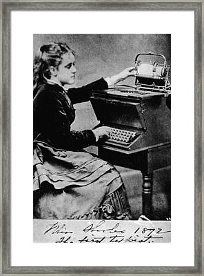 Woman At A Typewriter Framed Print by Hulton Archive