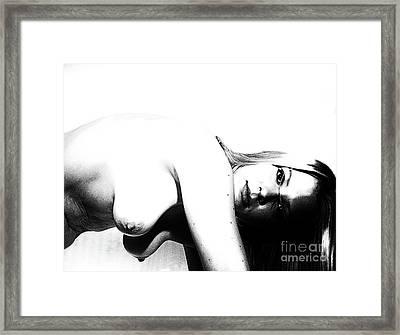 Woman By Portrait  Framed Print by ManDig Studios