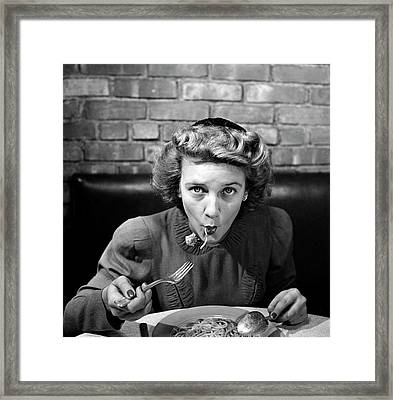 Woman Eating Spaghetti In Restaurant 5 Framed Print