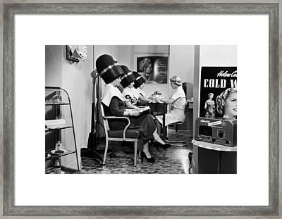 Woman Under Hair Dryer, Beauty Parlor Framed Print
