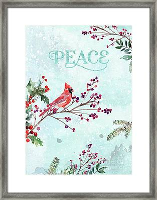 Woodland Holiday Peace Art Framed Print