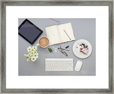 Working Desk With Objects Framed Print by Ozgur Donmaz
