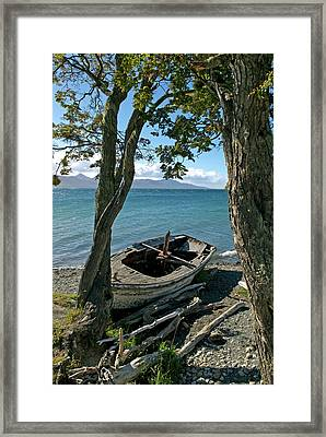 Wrecked Boat Patagonia Framed Print