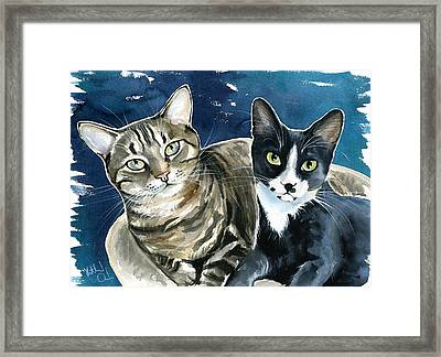 Xani And Zach Cat Painting Framed Print
