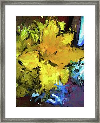 Yellow Flower And The Eggplant Floor Framed Print