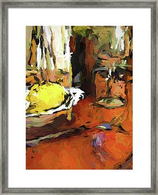 Yellow Lemon And The Wine Glass Framed Print