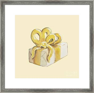 Framed Print featuring the painting Yellow Present by Maria Langgle