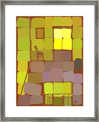 Framed Print featuring the digital art Yellow Room by Attila Meszlenyi