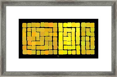 Framed Print featuring the digital art Yellow Triptych by Attila Meszlenyi