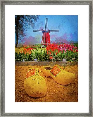 Yellow Wooden Shoes Framed Print