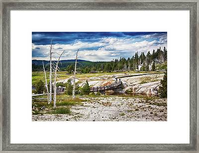 Framed Print featuring the photograph Yellowstone Trails In The Geyeser Basin by Tatiana Travelways