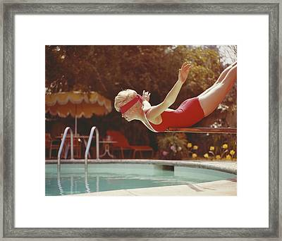 Young Woman With Blindfold Balancing On Framed Print