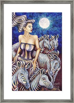 Zebra Moon Framed Print