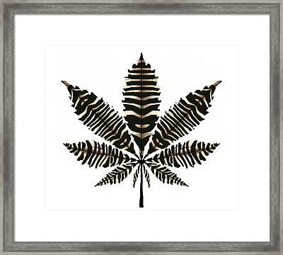 Zebra Pattern Marijuana Leaf 2 Framed Print