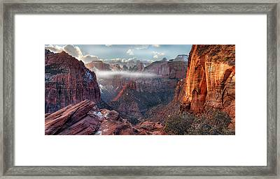 Framed Print featuring the photograph Zion Canyon Grandeur by Leland D Howard