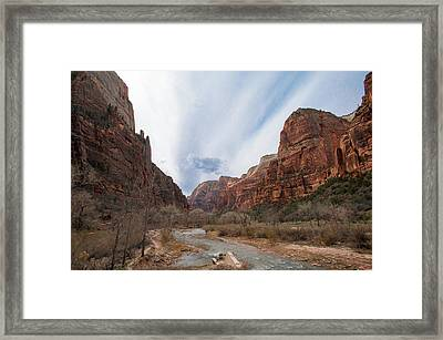 Zion National Park And Virgin River Framed Print