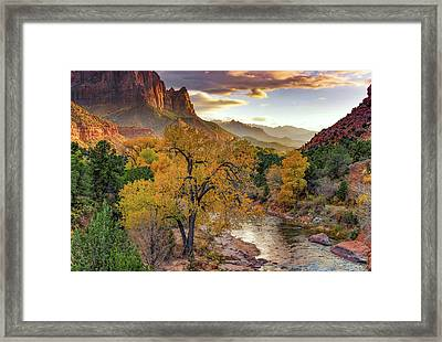 Zion National Park Autumn Framed Print by Leland D Howard