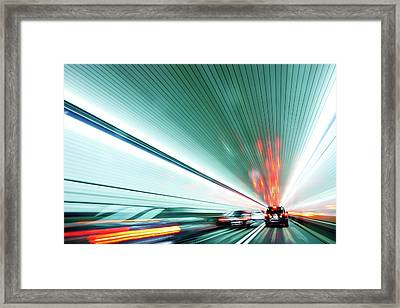 Zipping Through The Holland Tunnel Framed Print by Tanja-tiziana, Doublecrossed Photography