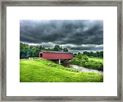 Zumbrota Bridge Thunder Framed Print