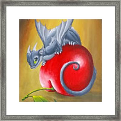 Cherry Dragon Framed Print by Mary Hoy