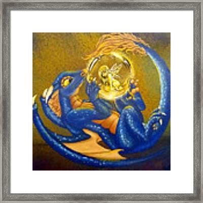 Dragon And Captured Fairy Framed Print by Mary Hoy