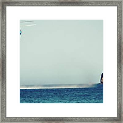 Helicopter Firefighter Take Water In The Sea Framed Print by Raimond Klavins