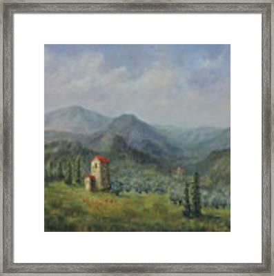 Tuscany Italy Olive Groves Framed Print by Katalin Luczay
