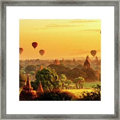 Bagan Pagodas And Hot Air Balloon Framed Print by Pradeep Raja PRINTS