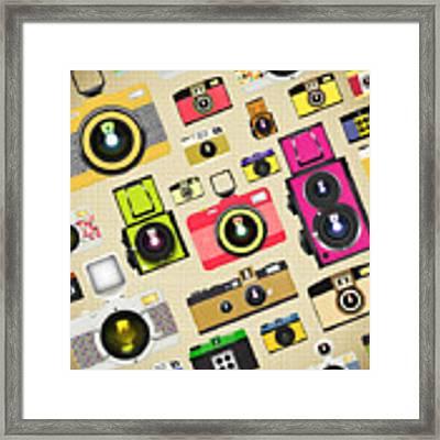 Retro Camera Pattern Framed Print