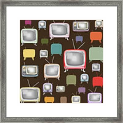 retro TV pattern  Framed Print