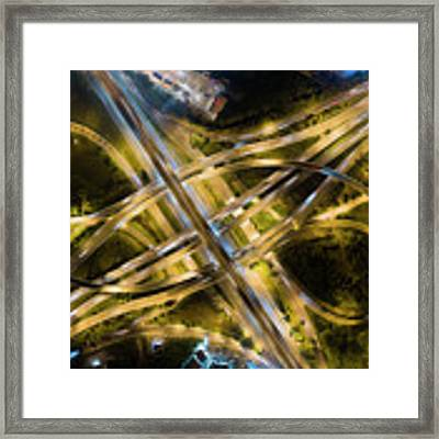 Aerial View Of Traffic Jams At Nonthaburi Intersection In The Evening, Bangkok. Framed Print by Pradeep Raja PRINTS