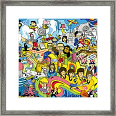 70 Illustrated Beatles' Song Titles Framed Print