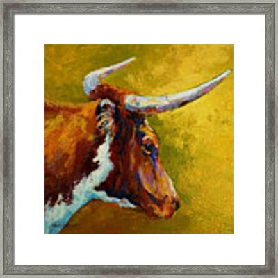 A Couple Of Pointers - Longhorn Steer Framed Print
