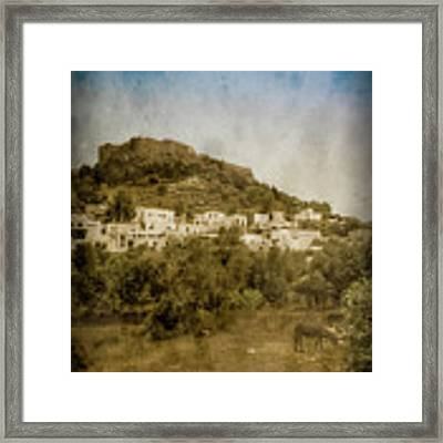 Rhodes, Greece - Acropolis Of Lindos Framed Print by Mark Forte