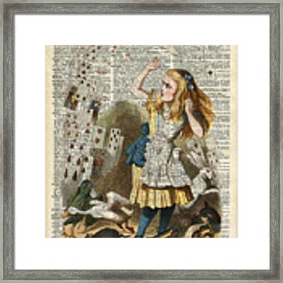 Alice In The Wonderland On A Vintage Dictionary Book Page Framed Print