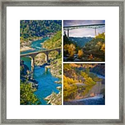 American River Triptych 3 Framed Print by Sherri Meyer