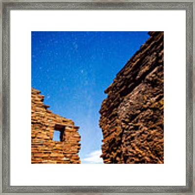 Ancient Native American Pueblo Ruins And Stars At Night Framed Print by Bryan Mullennix