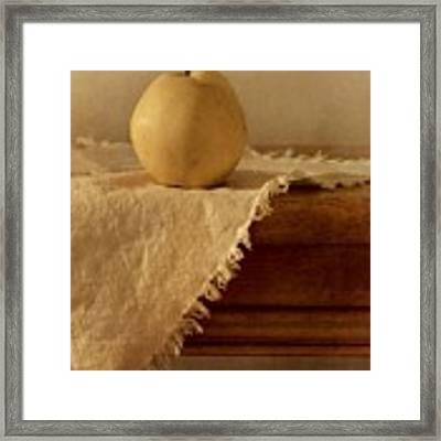 Apple Pear On A Table Framed Print by Priska Wettstein