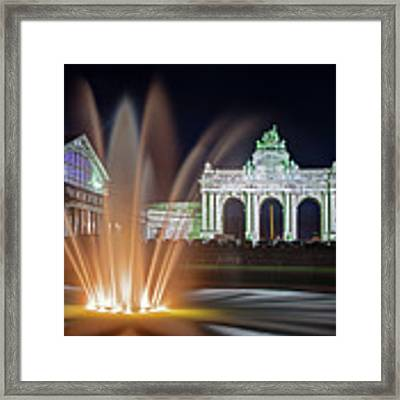 Arcade Du Cinquantenaire Fountain At Night - Brussels Framed Print by Barry O Carroll