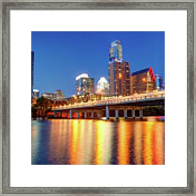 Austin City Skyline And Congress Bridge In Color Framed Print by Gregory Ballos