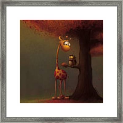 Autumn Giraffe Framed Print