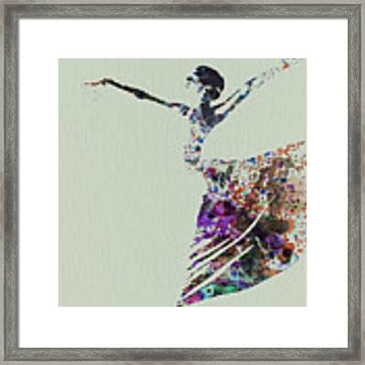 Ballerina Dancing Watercolor Framed Print by Naxart Studio