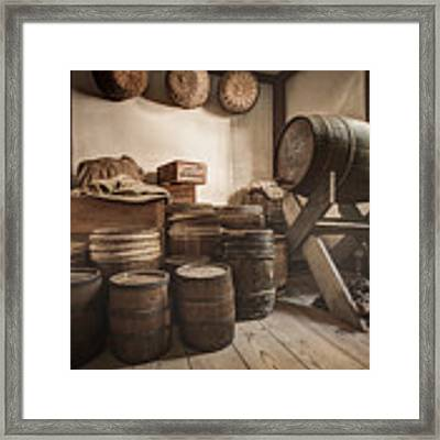 Barrels By The Window Framed Print by Gary Heller