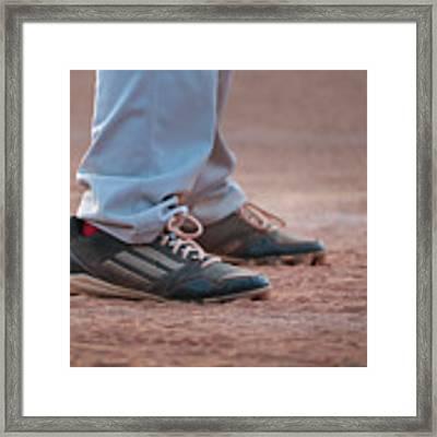 Baseball Cleats In The Dirt Framed Print by Kelly Hazel