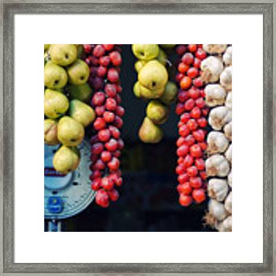 Beauty In Tomatoes Garlic And Pears Framed Print by Silvia Ganora